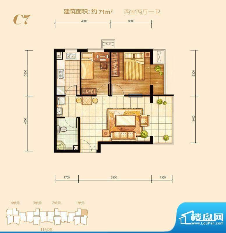 燕京航城C7户型 2室面积:71.00m平米