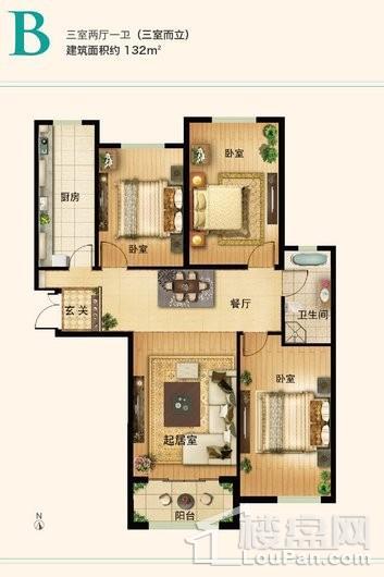 新世界家园132㎡3居户型 3室2厅1卫1厨