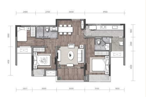 A户型, 3室2厅2卫1厨, 建筑面积约102.00平米